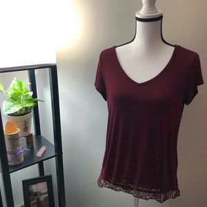 Banana Republic Maroon Short Sleeve Shirt